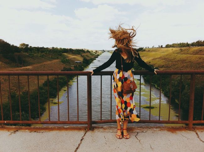 Countryside Rural Young Adult Day Outdoor Bridge Woman Hair Wind