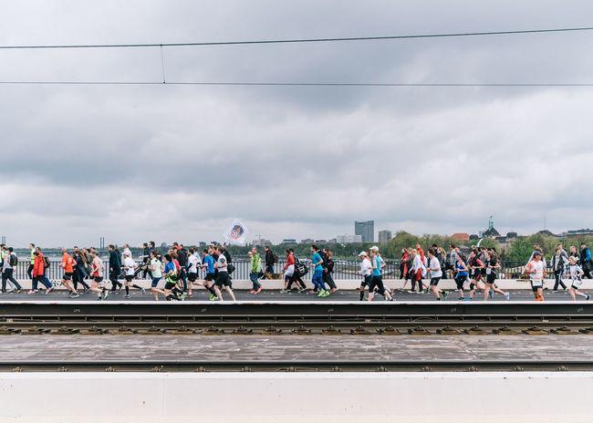 Metro Group Marathon in Düsseldorf 2015 Marathon Düsseldorf Bridge Runners Running Cityscapes Urban Landscape Walking Around The Week On EyeEm Editor's Picks
