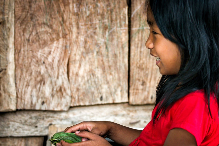 Red girl in Batad, Philippines. Asian Culture Children's Portraits Philippines Children Photography One Person Outdoors Portrait Side View Smile