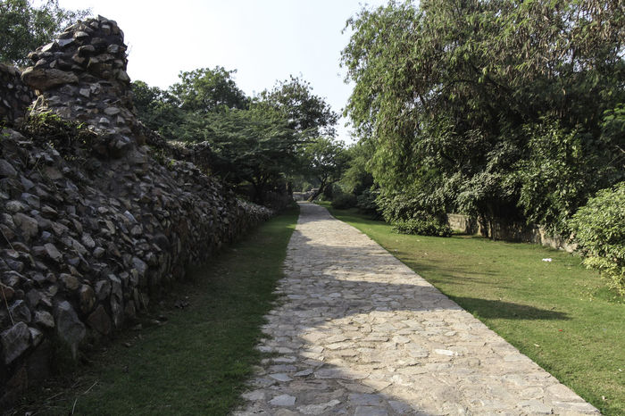 These are the ruins of the medieval Siri Fort in South Delhi, with a section of wall being visible and the stones that make up the wall, although this section of the wall surviving the centuries is pretty short. The fort was built by Alaudin Khilji to defend the core of his kingdom, primarily against the Mongols who were attacking the area. The fort helped in protection. In addition, the location of Siri where the supposed incident happened where the defeated Mongol army was brought and killed by trampling. These ruins are near Panchsheel Park and are set among greenery, the wall being many centuries old and yet standing firm in sections such as this. There is a paved walking path next to the wall, and a small stone wall at the other end and with a decorated garden. Beauty In Nature Day Delhi Grass Green Greenery Growth India Medieval Fort Medieval Structures Nature No People Outdoors Path Paved Path Plant Plants Siri Fort Siri Fort Ruins Stone Wall Tree Walking Path Wall