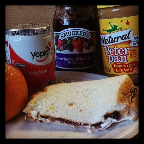 Late lunch ClassicPeanutButter &Jelly Smucker 'sPreserves Strawberry -Blackecherry PeterPanPeanutButter CreamyHoneyRoast Yoplait MixedBerryYogurt Clemetines
