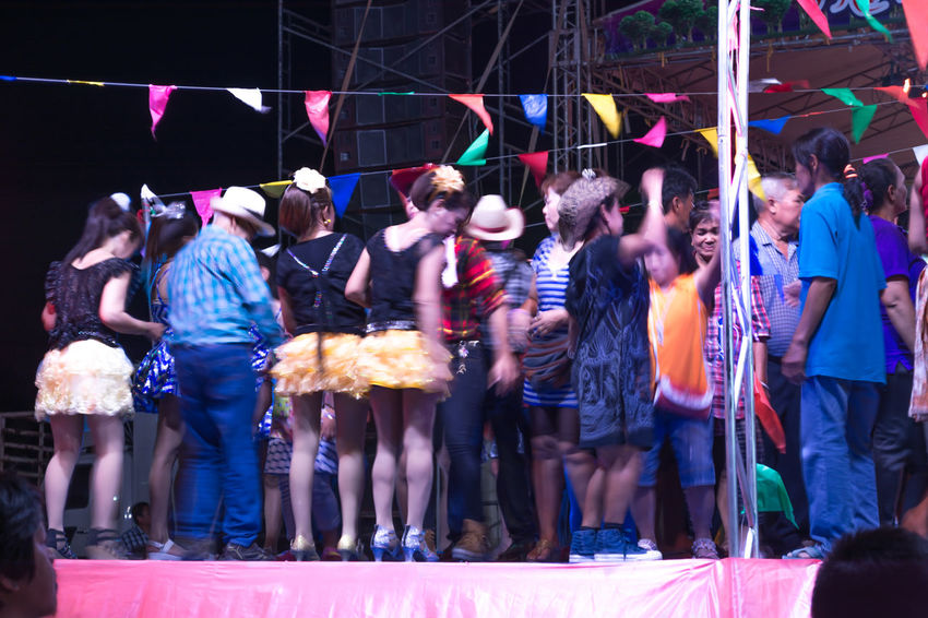 Adult Celebration Crowd Enjoyment Fun Large Group Of People Leisure Activity Lifestyles Men Motion Multi Colored Night Outdoors People Real People Women Dancing Thai Dance Thailand Music Dance Floor Dance Show Dancers Nakhon Pathom Thailand Music