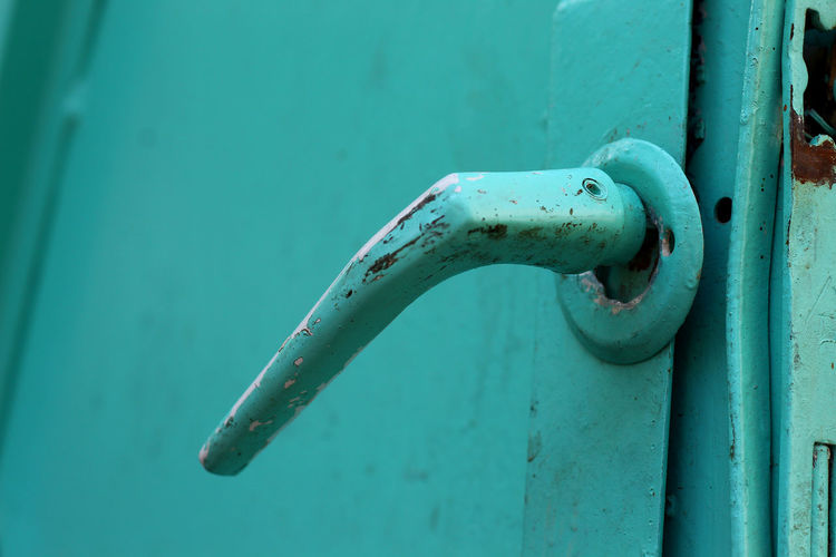 Close-up of metal door