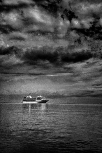 Port Of Koper Sea And Sky Seascape Sky And Clouds Black & White