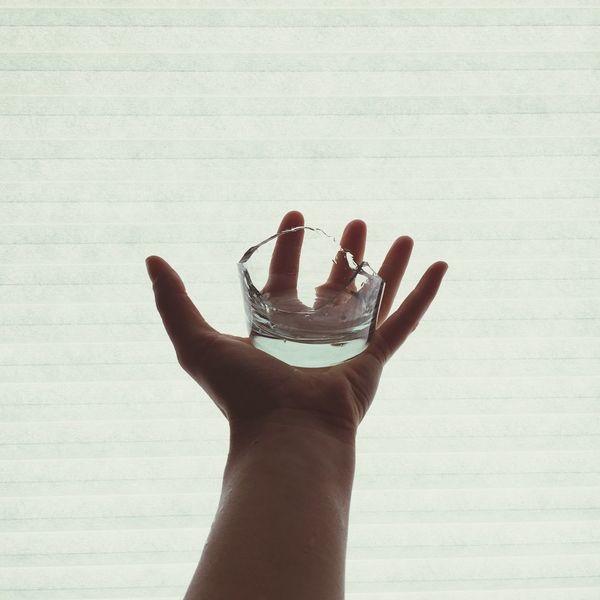 Broken Glass Hand Picking Up The Pieces Sharp Glass Broken