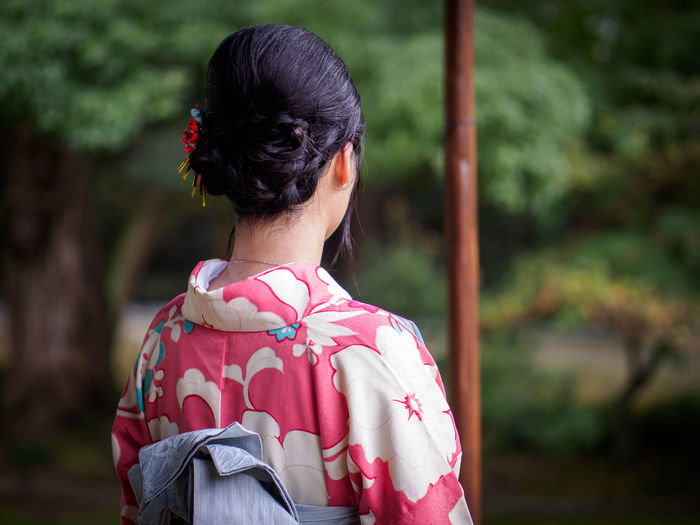 Rear View Of Woman In Kimono