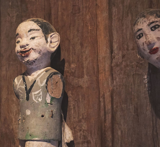 water puppets, Hanoi, Vietnam Puppets Art And Craft Close-up Craft Creativity Female Likeness Human Representation Indoors  Leisure Activity Male Likeness People Representation Sculpture Statue Wall - Building Feature Water Puppet Wood Wood - Material