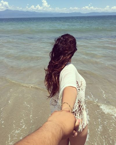 Come with me Love Sea Beach Water Nature Beauty In Nature Horizon Over Water Tranquility Outdoors Women Sand Day Vacations
