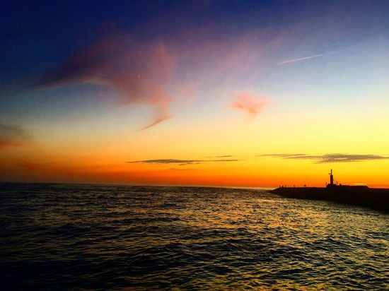 😍 Sunset Sea Horizon Over Water Sky Beauty In Nature Scenics Water Silhouette Orange Color Nature Tranquil Scene Tranquility Cloud - Sky No People Waterfront Outdoors Nautical Vessel Lighthouse Offshore Platform Day