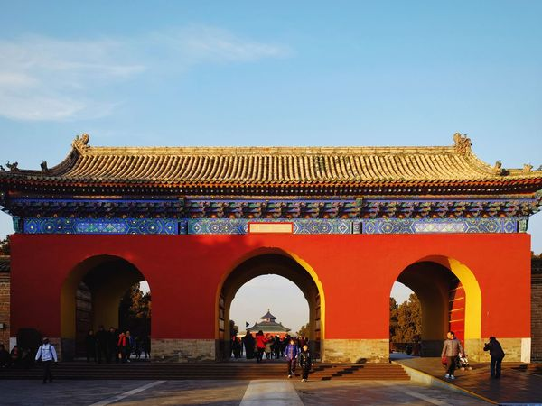 Arch Travel Destinations Architecture History Gate King - Royal Person Outdoors Royalty Clear Sky Day Tourism Light And Shadow Cloud - Sky Old Building  Warm Winter Temple Of Heaven Park FUJIFILM X-T10 Old Architecture Beijing, China Traditional Building China Culture Traditional Architecture Travel Old Building  Multi Colored