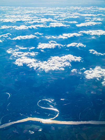 High angle view of clouds over sea