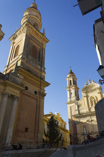 Architecture Bell Tower Bell Towers Bells Buildings & Sky Campanile Campanili Chiesa Church Côte D'Azur Eglise Exterior France Menton Menton, France Mer Piazza Sea Square Sunlight Sunlight And Shadow Town Town Square Travel Destinations Ville
