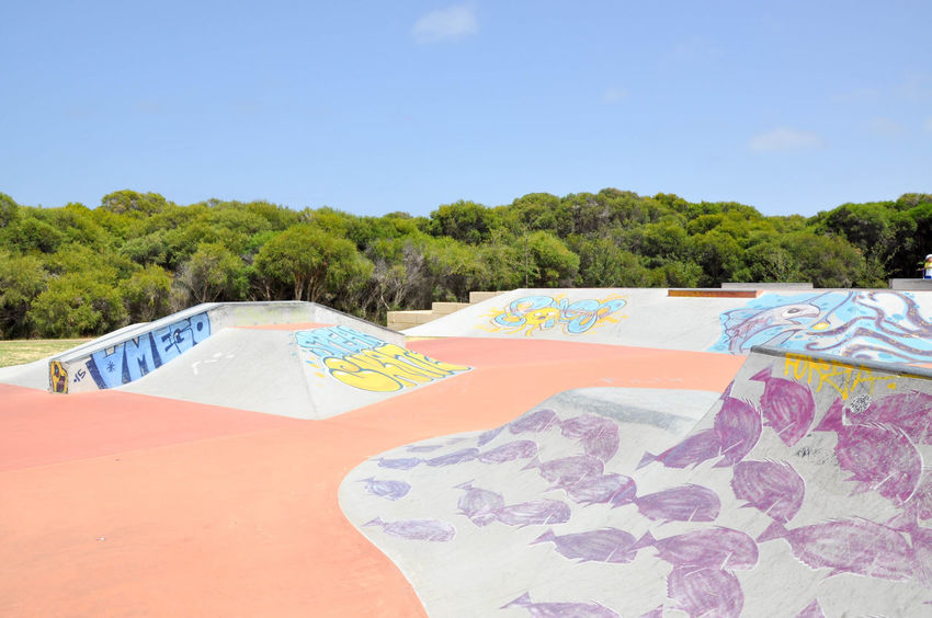Murals on the concrete ramps at the Spearwood Skate Park in Western Australia. Concrete Day Expression Graffiti Multi Colored Mural Nature Outdoors Playground Rails Ramps Sand Scenics Skatepark Sky Spearwood Spine Sport Summer Tagging Tree Urban Art Visual Statements Western Australia Youth Culture