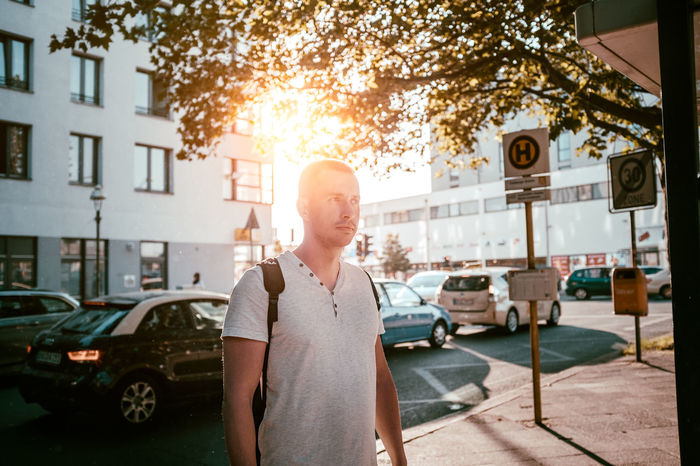 Sun stop Casual Clothing City City Life City Street Day Land Vehicle Leisure Activity Lifestyles Light Light And Shadow Man Men Mode Of Transport Outdoors Person Portrait Portrait Of A Friend Shirt Stationary Straight Sun Sunlight Sunset The Portraitist - 2016 EyeEm Awards Tshirt