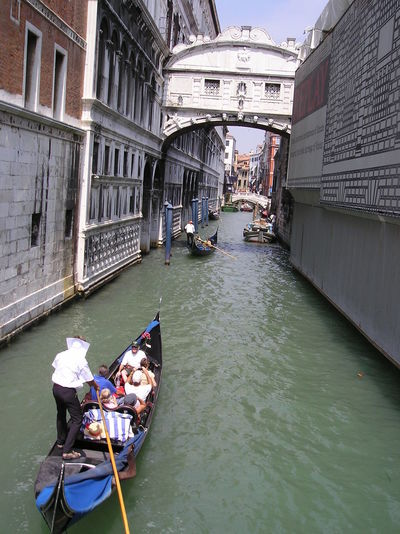 High Angle View Of People Traveling In Gondola At Grand Canal