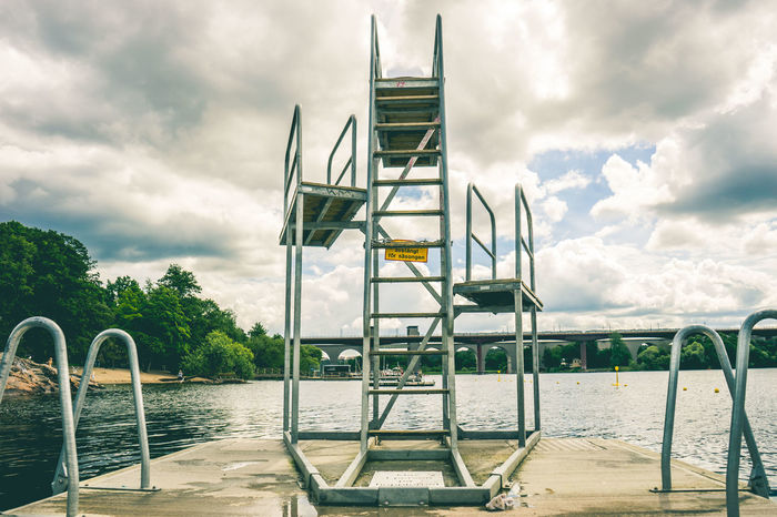 Diving board Hornstull Stockholm Sweden Cloud - Sky Dive Diving Board Hornstull Lake No People Outdoors Stockholm Stockholm, Sweden Swim Swiming Swimming Swimming Time Tranquility Water