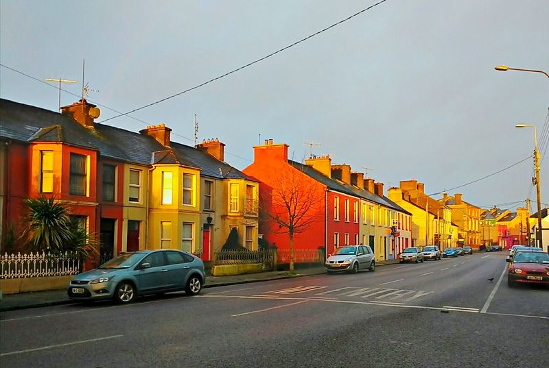 Street Building Exterior Outdoors No People Town Houses Coloured Houses Cars Light Road Morning Light Calm Day Chimneys Ireland No Entry Red EyeEmNewHere Skibbereen, Ireland Skibbereen West Cork Red Houses
