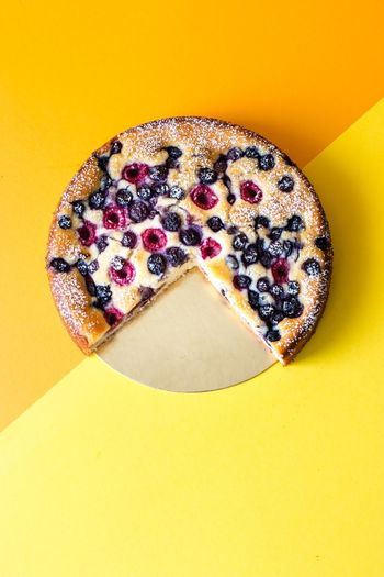 ricotta yogurt cake with fresh berries by Foodart Art Backbube Yellow Yellow Background Colored Background Still Life Indoors  Close-up No People Studio Shot Sweet Food Food Dessert Directly Above Sweet