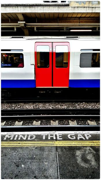 """""""Mind the Gap"""" Public Transportation Enjoying The Colours The View From Here Enjoying The Light Underground 2015 08 19"""