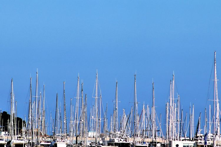 Sailboats Moored In Harbor Against Clear Blue Sky