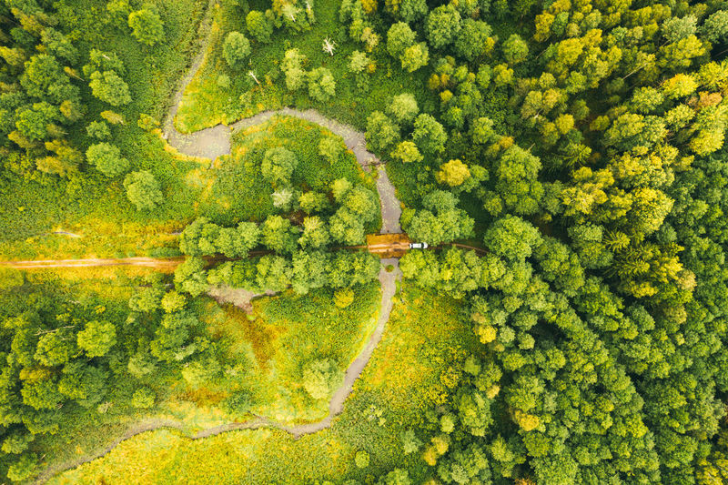 Top view of the valley of a meandering river among green forests