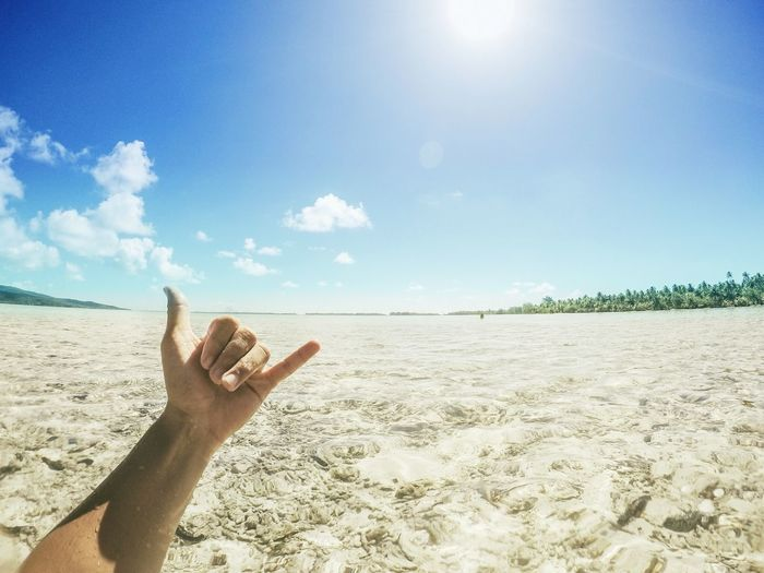 Cropped hand of man gesturing shaka sign at beach