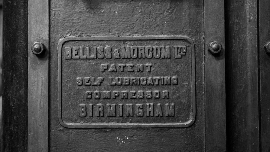 Close-up of text on door