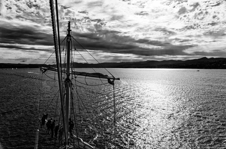 A trip on the 3 Mats Barque Belem back in June 2014. We sailed between Marseilles and Nice. Blackandwhite Bnw Bnw_friday_eyeemchallenge Bnw_society Cloud - Sky Day Destination France Lifeatsea Mediterranean  Mediterranean Sea Nautical Vessel Sail Sailing Sailing Ship Sailor Scenics Sea Ship Sky Summer Tallship The Belem Travel Water