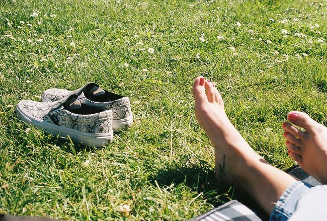 Close-up Field Grass Human Foot Nature Outdoors Real People Shoe Shoes Off