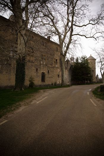 View of old building by road