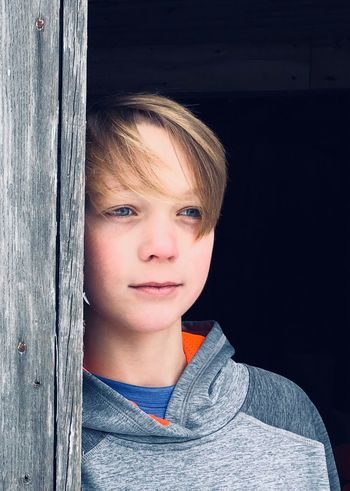 Introspection One Boy Childhood Front View Boys Portrait One Person Real People Elementary Age Blond Hair Day Close-up Outdoors People