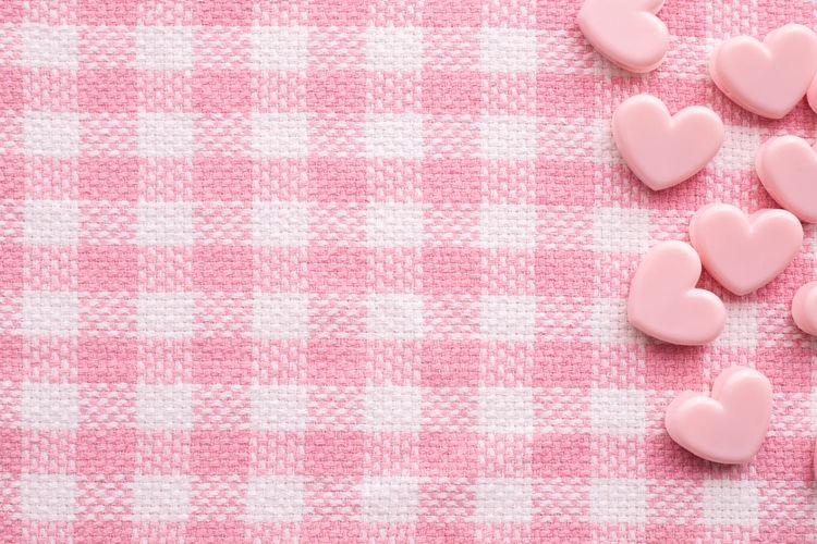 Valentine's day celebration background, Pink color background. Pattern Pink Color Copy Space Tablecloth Textured  Seamless Backgrounds Shape Blank Heart Above Valentine Day Valentine's Day  Concept Love Decoration Greeting Card Sweet Table Design Heart Shape Frame Celebration