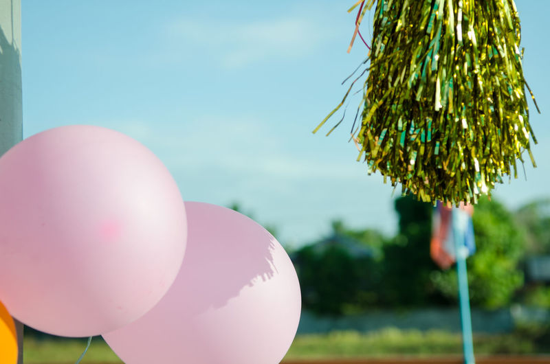 Close-up of pink balloons hanging against sky