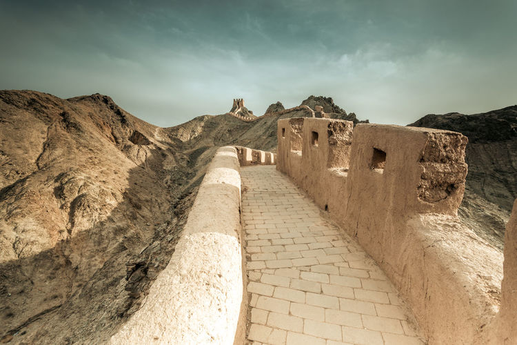 The Great Wall near Jiayuguang, Gansu, China Ancient Architecture Border Brick China Corridor Culture Defense Famous Fort Great Wall Heritage History Landmark Landscape Ming Dynasty Mountain Protection Rock Sections Sky Structure Tourism Tower Wonder