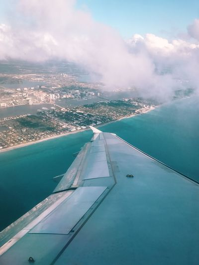 Airplane Aerial View Airplane Wing Sky Ocean View