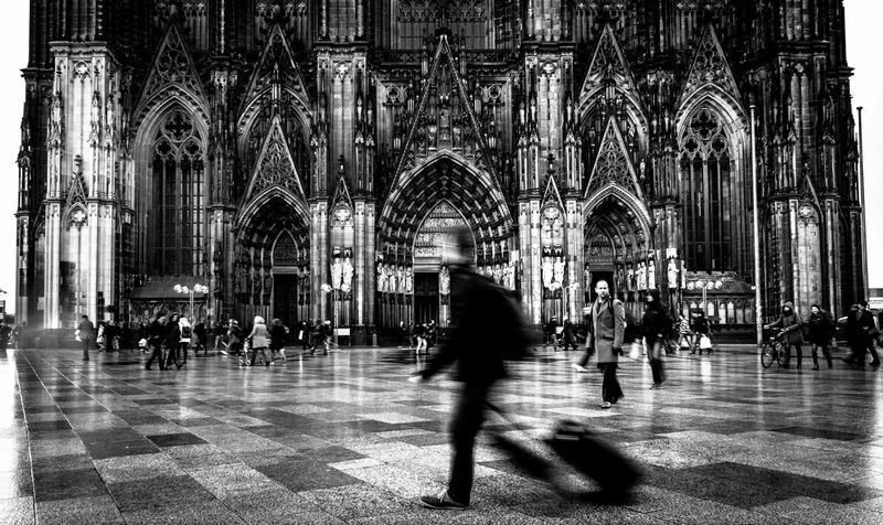 On the way. EyeEm Best Shots EyeEm Best Shots - Black + White Fortheloveofblackandwhite Urban Church Kölner Dom Light And Shadow Streetphotography My Daily Commute Under Pressure The Tourist Capturing Motion