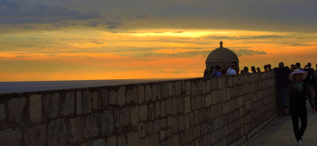 Architecture City Walls Dubrovnik, Croatia Famous Place Old Town Sea Sky Stone Stone Wall Sunset