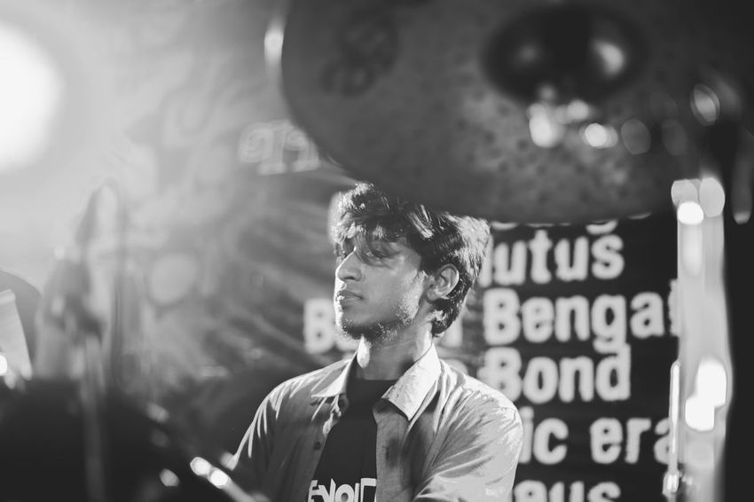 Drummer - I Black And White Black And White Photography Concert Concert Photography Drummer Lifestyles Music Musician One Person People Real People Young Adult Young Men EyeEm Selects Black And White Friday The Portraitist - 2018 EyeEm Awards