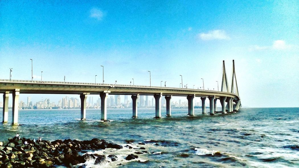 Outdoors Day Sky No People Clear Sky Nature Water Bridge - Man Made Structure Sea Built Structure Connection Architecture Mumbai Indian Ocean Indianphotography Satish Sealink_bridge Sealink Worli Sealink Bandraworlisealink Bandraworli Bandrasealink Moto Bombay Beach First Eyeem Photo EyeEmNewHere The Architect - 2017 EyeEm Awards
