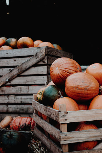 Pumpkins In Wooden Crates For Sale