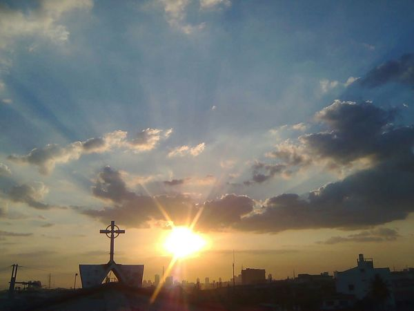 Old Phone Photo From The Rooftop Sunset Church Cross View From The Top No Edit/no Filter My Favorite Photo