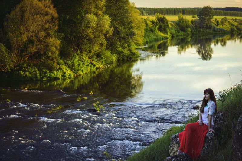 The Great Outdoors With Adobe Breakage Near The River Beauty In Nature One Person Outdoors Plants Coast Water Reflections Don River Lipetsk Region One Girl Green Color Summer Memories 🌄