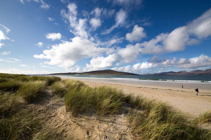 Beach Beauty In Nature Cloud - Sky Isle Of Harris Landscape Luskentyre Beach Machair Grass Nature Sand Sand Dune Scenics Scottish Scenery Sea Sky Travel Destinations Western Isles EyeEmNewHere Wide Angle Scottish Treasure Beach Walk Autumn Sunshine