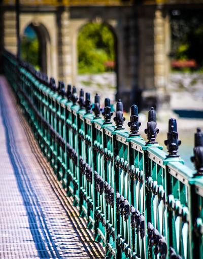 Close-up of footpath railing