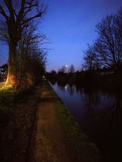 Tree Water Nature Sky Reflection Beauty In Nature EyeEmNewHere Tranquil Scene Outdoors Tranquility No People Silhouette Scenics Night Outdoors Photograpghy  Postcode Postcards Huawai P9 Walking Around Taking Pictures Walking Around Water River Canal Art Is Everywhere LONDON❤ London The Secret Spaces Walking around London,water canal, Winter 2017.