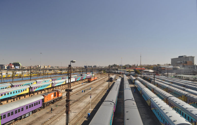 Johannesburg train switch yard. Johannesburg Main Train Station South Africa Architecture Building Exterior Built Structure City Clear Sky Day High Angle View Land Vehicle Mode Of Transport No People Outdoors Parallel Lines Sky Train - Vehicle Transportation Mobility In Mega Cities