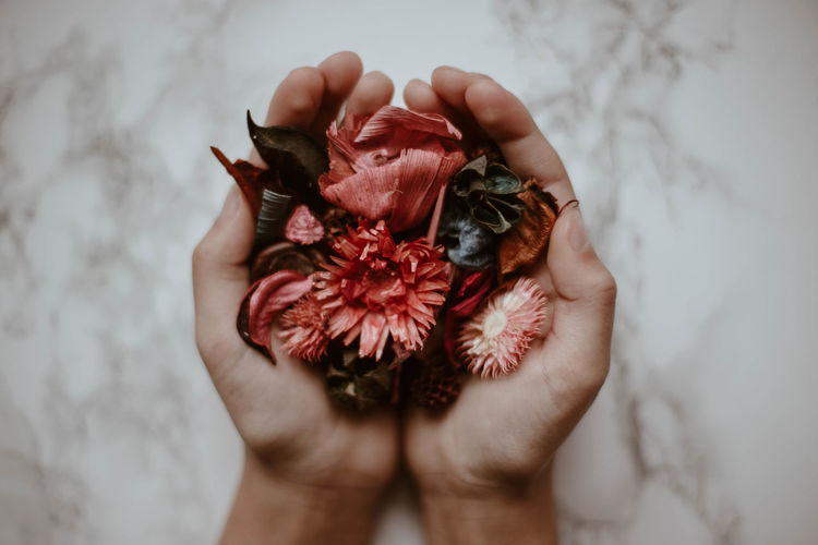 Close-up of cropped hands holding flowers