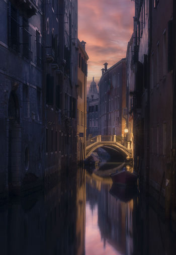 Canal amidst buildings during sunset