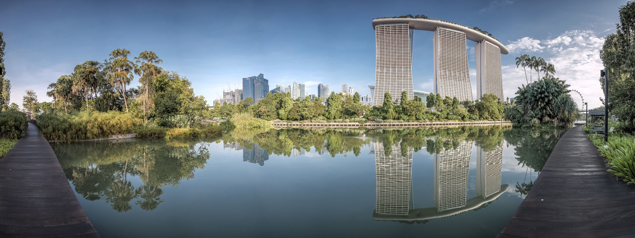 Marina Bay Sands Reflecting In Pond