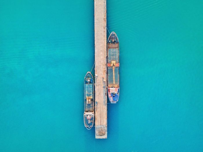 High angle view of ttwo boats docked on port